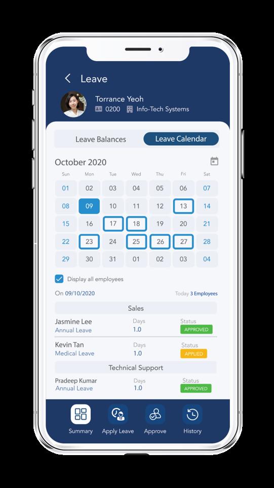 HR Mobile app (Leave Calendar)